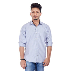 EVOQ Blue Stripe Shirt With Contratic Collar Band, With Round Hemline-Nautical Miles_Blue