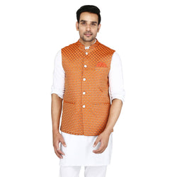 Singhal Fashion Orange Banarsi Booti Nehru Jacket