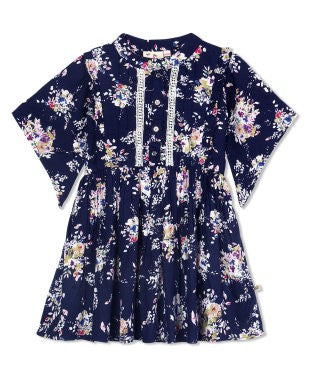 Budding Bees Girls Blue Floral Printed Fit & Flare Dress