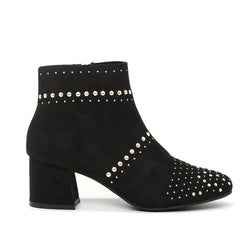 Londonn Rag Women's Black Studded Point Toe Boots-SH1459Black