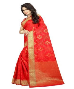 Moksha orange banarasi jacquard silk Designer saree
