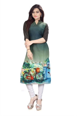Manvi Fashion Women's Designer Partywear Multi Color American Crepe Fabric Digital Printed Readymade Kurti $ MF 2839