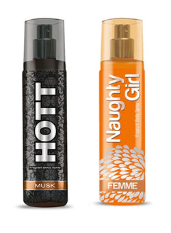 HOTT Mens MUSK & Naughty Girl FEMME- (Set of 2 Perfume for Couple) (135ml each)