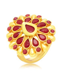 Sukkhi Finely Gold Plated Maroon Studded Stone Ring For Women
