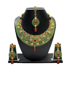 Zaveri pearls green, red and gold necklace with earrings