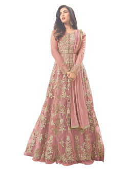 YOYO Fashion Latest Fancy Semi-stitched  Net Embroidered Anarkali Salwar Suit Gown$F1211