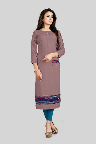 16TO60TRENDZ Rosy brown Rayon Patch Work Stiched long Kurti $ SVT00180