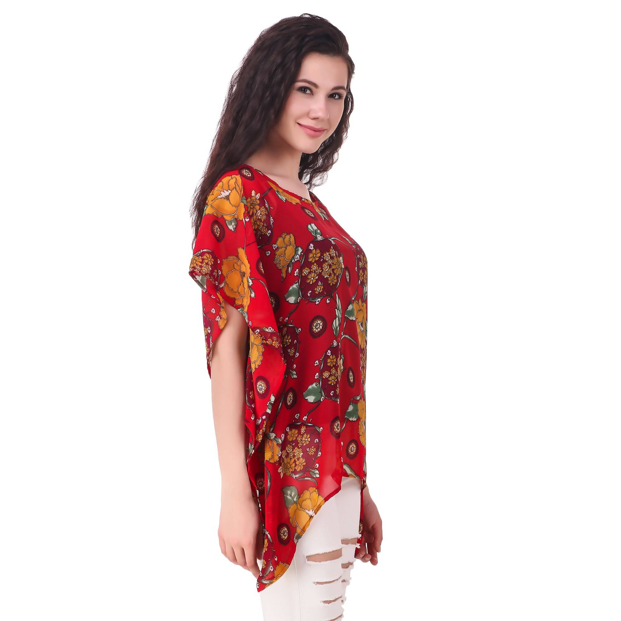 cc0ef0093295 Fame 16 Printed Women'S Round Neck Red Georgette Flared Floral Printed  Kaftans $ F16-1600182 ...