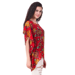 Fame 16 Printed Women'S Round Neck Red Georgette Flared Floral Printed Kaftans $ F16-1600182