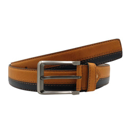 Baluchi Tan and Black Fine Textured Semi Formal Men's Belt $ BLC_PMBT_12