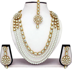 Gold Plated Alloy Metal Hand Crafted Work Women's New Gol Chhagan Necklace Set $ AF788621