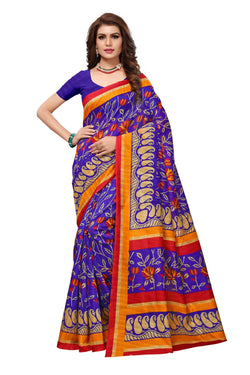 16TO60TRENDZ Blue Color Printed Bhagalpuri Silk Saree $ SVT00468