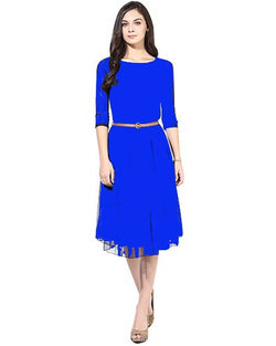 Muta Fashions Women's Semi Stitched Casual Net Blue Kurti $ KURTI73