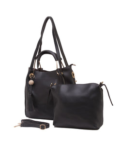 Fiona Trends Black PU Shoulder Bag,611_BLACK