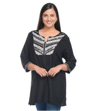 ENTEASE BLACK COTTON LINEN TUNIC