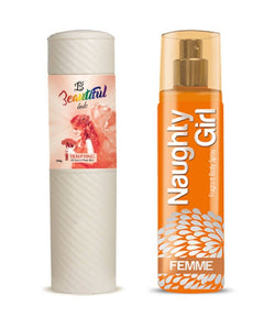 BEAUTIFUL TALC 250gm TEMPTING & Naughty Girl FEMME 135 ml (Set of 2 for Women)