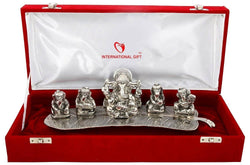 International Gift Silver Plated Musical Ganesha God Idol Oxidized Silver Finish with Beautiful Red Velvet Box (12 cm, Silver) $ GNI-106