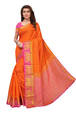 16to60trendz Orange and Pink Tusar Silk Handloom Art Work Kanjivaram saree $ SVT00006