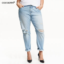 COCOEPPS High Quality Broken Hole Jeans 5XL 6XL Plus Size Women denim Summer Casual  solid Big Large Size Jeans Girl Streetwear