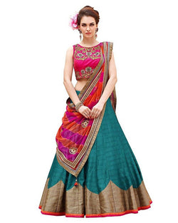 Muta Fashions Women's Semi Stitched Banglori Silk Sea Green Lehenga $ LEHENGA69