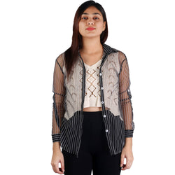 Fashiontiara Fancy Collection Of Net Stripted Button shirt with Woven design cotton knitted Off White crop Tops $ FTS22