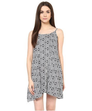 Miway Black & White Aztec Print Dress