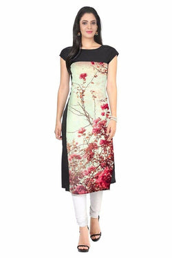 Manvi Fashion Women's Designer Partywear Beige & Black Color American Crepe Fabric Digital Printed Readymade Kurti $ MF 2816