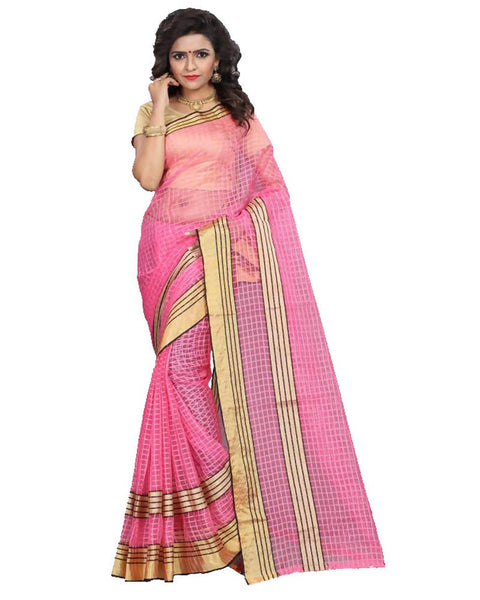 Muta Fashions Women's Unstitched Cotton Net Pink Saree $ MUTA1585