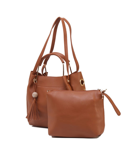 Fiona Trends Tan PU Shoulder Bag,611_TAN