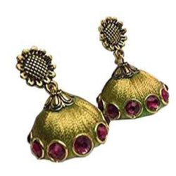Ailsie Stylish Jhumka Earrings For Women Fashion Beautiful Sliver Antique Flower Design Silk Thread Earring - Gold