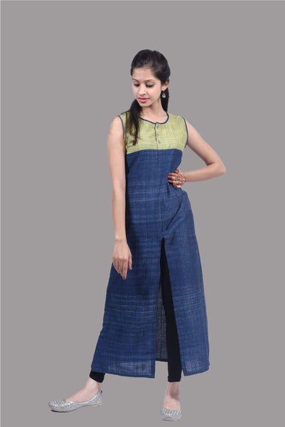 Green and Blue Khadi Tunic with Front Slit $ IWK102