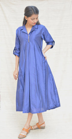 Royal Blue box Pleated Khadi Silk Tunic $ IWK-000488