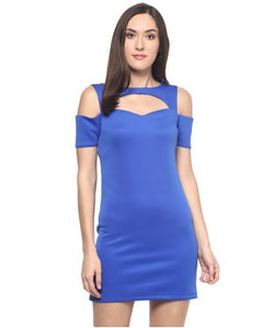 Miway Blue Solid Shift Dress