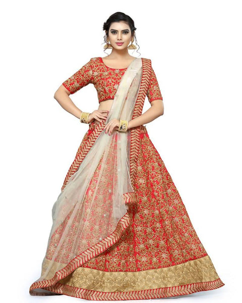 Muta Fashions Women's Semi Stitched Pure Banglori Silk Red Lehenga $ LEHENGA173