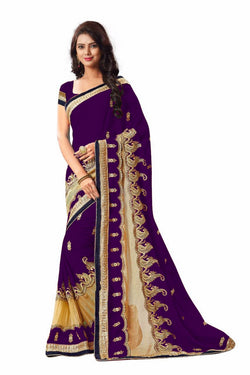 16to60trendz Wine Georgette Embroidery Designer Saree $ SVT00270
