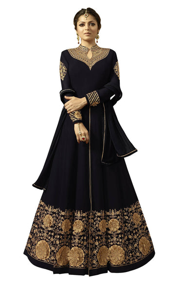 YOYO Fashion Georgette Anarkali Semi-Stitched salwar suit F1296-Black