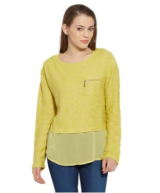VIRO Full Sleeves Boat Neck Georgette fabric Green Top