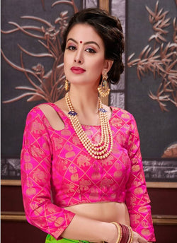 Manvi Fashion Pink Color Border Piping Work Broket in Fabric Party Wear Readymade Blouse $ MF 3099
