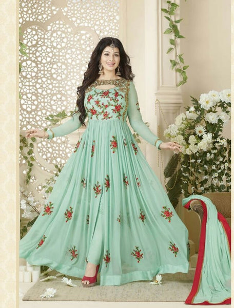 YOYO Fashion Stylish Designer Embroidered Gerorgette Bollywood Anarkali Salwar suit - F1018