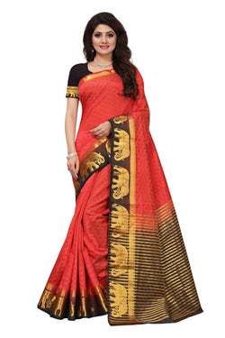 16to60trendz Red and Black Tusar Silk Handloom Art Work Kanjivaram saree $ SVT00011