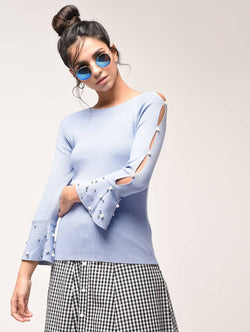 Aiyra Blue Color Pearl embellished cut out sleeved sweatshirt $ AR15900901