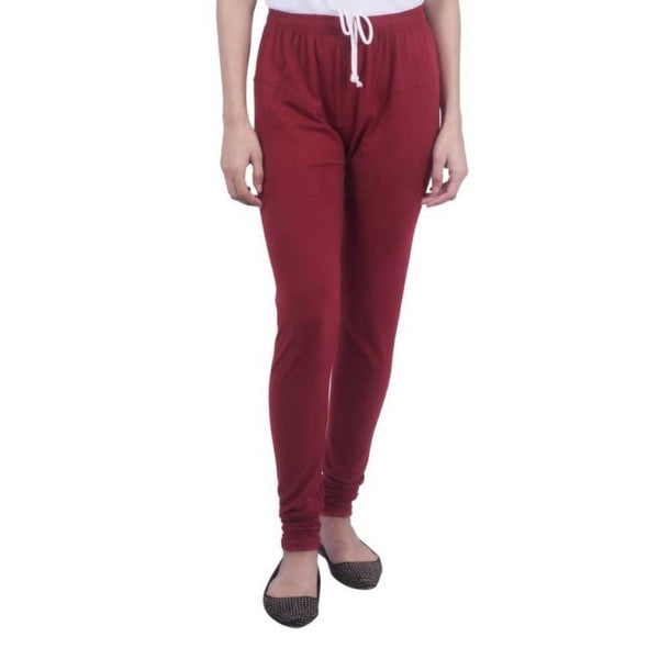Amihgo Women's Maroon Churidar Cotton Legging-Free Size $ MAH40006