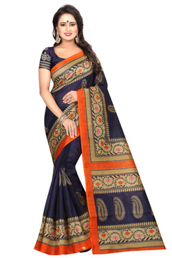 16TO60TRENDZ Blue Color Printed Bhagalpuri Silk Saree $ SVT00489