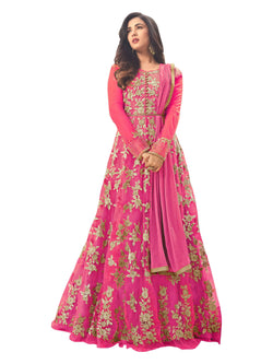 YOYO Fashion Latest Fancy Semi-stitched  Net Embroidered Anarkali Salwar Suit Gown$F1211-Pink