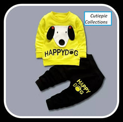 Cute Dog Printed Bear Twin Set Little Boy Girl Two Piece Set Tshirt & Pant for Baby Kids_Yellow & Black $ CP-KA26