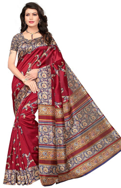 BL Enterprise Women's Bhagalpuri Cotton Silk Kalamkari Red Color Saree With Blouse Piece $ BLLB-17