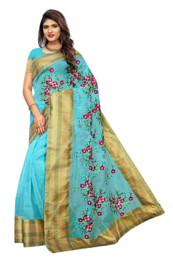 YOYO Fashion New Latest Poli Net Sky Blue Embroidered Saree With Blouse $ YOYO-SARI2639