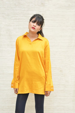 Yellow Khadi Silk Shirt Collar Top $ IWK-000374