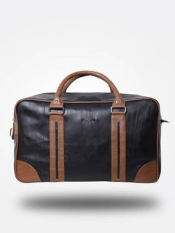 Strutt Unisex Black Duffel Bag with Brown Stripes $ SMD546