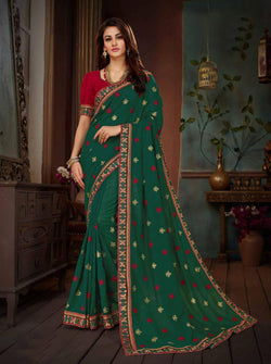 Fashion Zonez Embroidery Work Vichitra Silk Dark Green Designer Saree With Blouse $ FZ 2661